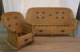 Heywood Wakefield Wicker Couch And Chair