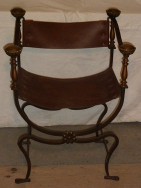 Arts & Crafts Leather & Hammered Metal Arm Chair
