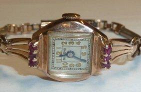14kt Gold & Rubies Bulova Ladies Watch