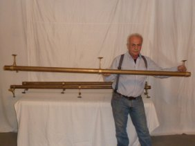3 Vintage Brass Foot Rails W/ Orig. Mounts