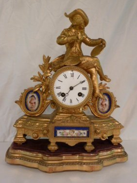 Antique Gilt Table Clock W/ Sevres Porcelain