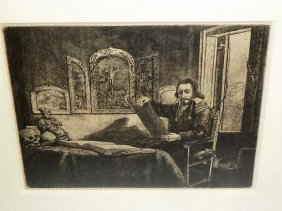 Rembrandt Etching Abraham Francen, Apothecary