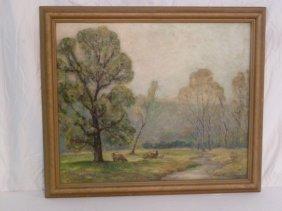 Oil On Canvas Of Buck's County S/ Worthington