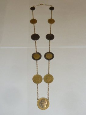 14kt Gold Necklace With Italian Coins