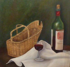 Oil On Artist Board Still Life Wine , Wine Basket