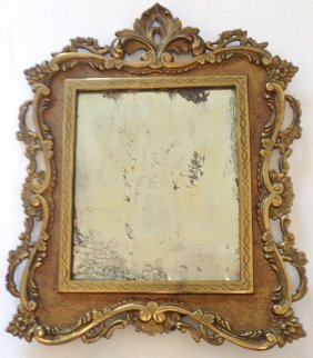 Ornate Easel Back Table Top Mirror , 1900's