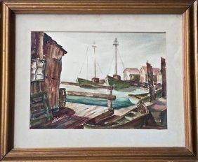 William Fisher (american 1891-1985) Harbor In Maine