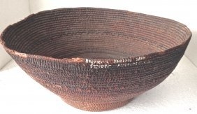 """Museum Deaccessioned Hand-woven Basket, 7""""x17"""""""