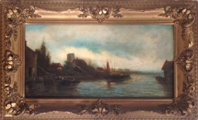 19th C. Continental Oil Painting, Village Harbor