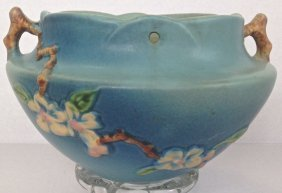 Roseville Blue Apple Blossom Hanging Basket
