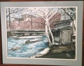 "New York City Watercolor ""ramble Central Park"" Signed"
