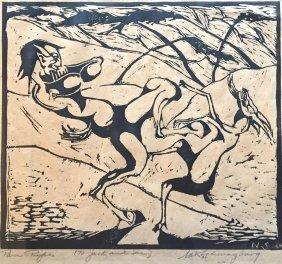 "Nathaniel Schwarzburg (american B.1896) ""pan With Faun"""