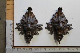 Lion Face Bronze Castings (pair)