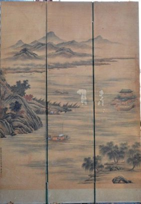Hand-drawn Landscape Painting In Silk Large