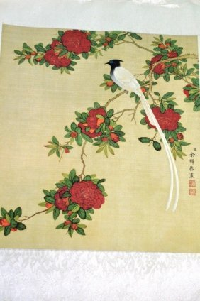 A Pair Silk Scroll Paintings Of Birds And Flowers