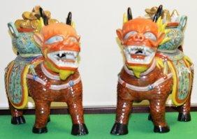 A Pair Of Chinese Porcelain Kirin