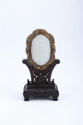 A Chinese Silver Screen With Carved Jade Inlaid And