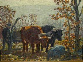 EDWARD CHARLES VOLKERT New England Pasture Cow Oil