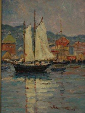 JOHN MORIS Harbor Scene Painting