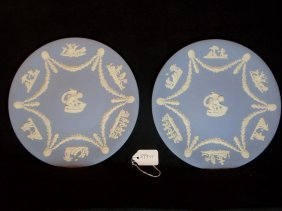 PAIR BLUE WEDGWOOD JASPERWARE PLATES