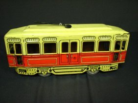 GERMAN TIN WIND UP TROLLEY CAR