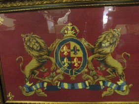 LARGE NEEDLE POINT COAT OF ARMS