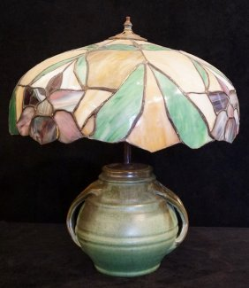 Leaded Glass Lamp With Pottery Base