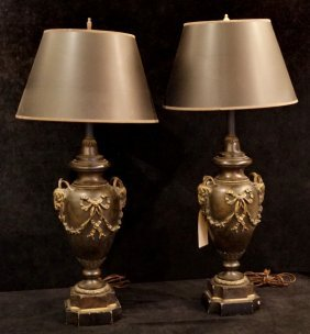 Pr. Composition Urn Form Rams Head Figural Lamps