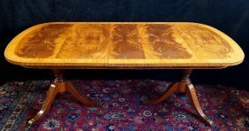 Regency Style Inlaid Double Pedestal Dining Table