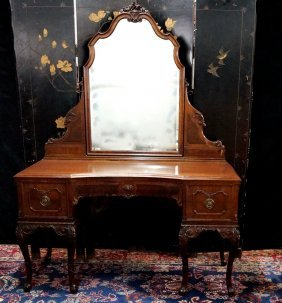 Queen Anne Style Walnut Mirrored Vanity