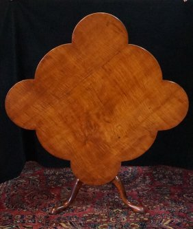 18th C. American Tiger Maple Clover Leaf Form Tip Table