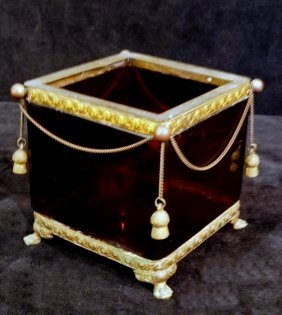 Ruby Flashed Glass Box With Metal Frame