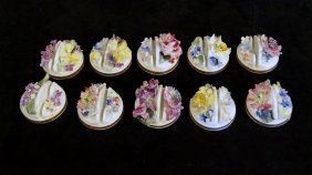 10 Royal Crown Derby Porcelain Place Card Holders