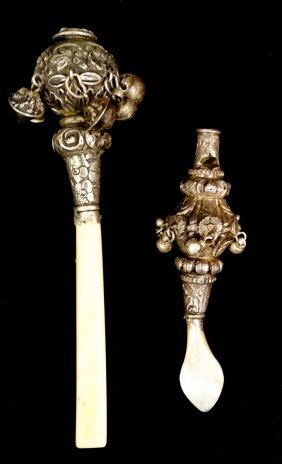 2 Sterling Silver Rattles Handles Replaced