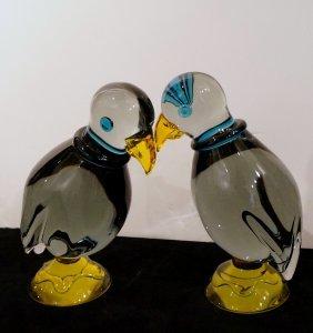 Pr. Venetian Glass Parrots