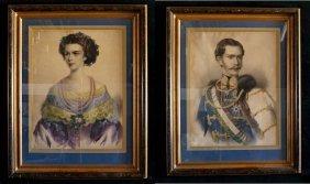"""Pr. Framed Chromolithographs """"franz Joseph & Empress"""