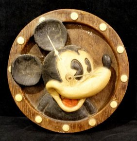 Carved Wood Mickey Mouse Clock