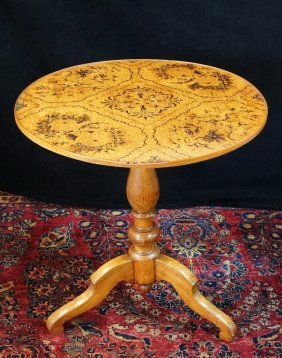 Marquetry Inlaid Circular Table