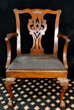 19th C. Chippendale Style Arm Chair