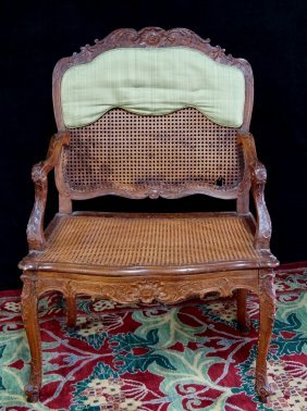 Louis Xv Style Carved & Caned Open Arm Chair