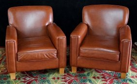 Pr. Canadian Leather Club Chairs