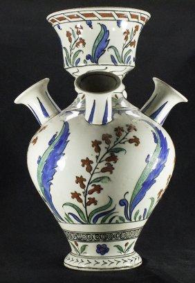 Antique Kutahya, Iznik Style Turkish Ceramic Vase.