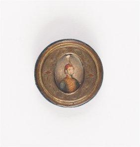 19th Cent Ottoman Turkish Miniature Portrait Of Sultan