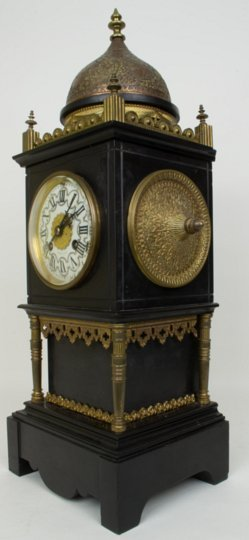 A Tiffany Bronze And Marble Square Form Mantle Clock