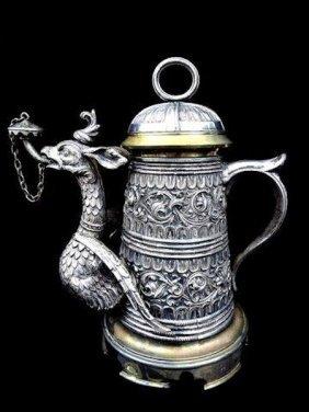 Unusual German/austrian Parcel-gilt Repousse Silver
