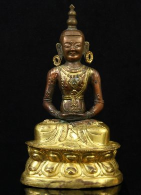 Chinese Or Mongolian Copper Gilt Statue Of Buddha.