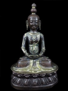 Chinese Or Tibetan Statue Of Buddha. Made Of Gilt Coppe