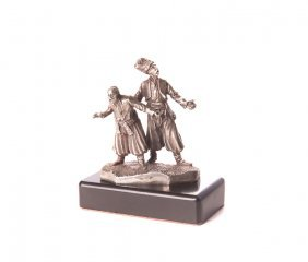 A Pair Of Imperial Russian Silver Cossacks On Base