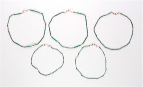 Lot Of Five Ancient Egyptian Faience Beads Necklaces