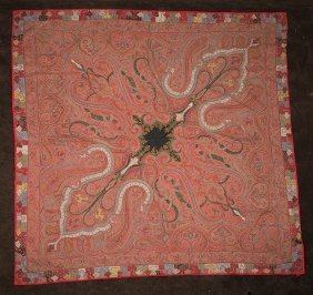 Large Antique Kashmir Shawl Textile